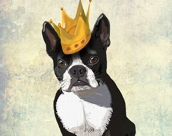 Perro con Corona Dibujado a Lapiz
